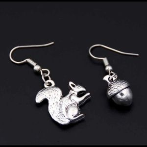 Squirrel and Acorn Earring pair